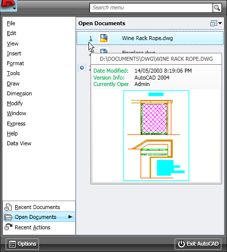 AutoCAD 2009 Open Documents