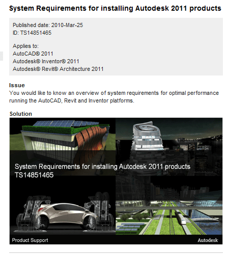 AutoCAD 2011 System Requirements Knowledge Base Entry