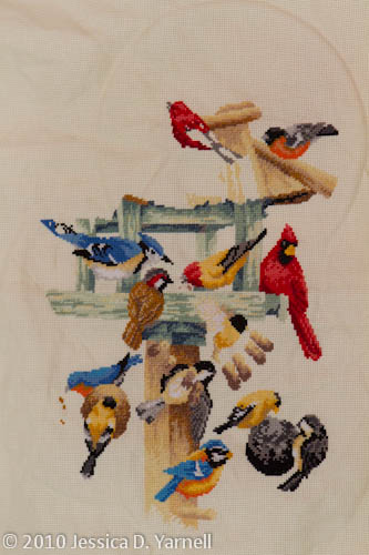 Bird Feeder Cross-stitch In Progress