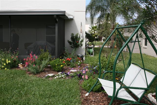 Left side of backyard.all flowers!