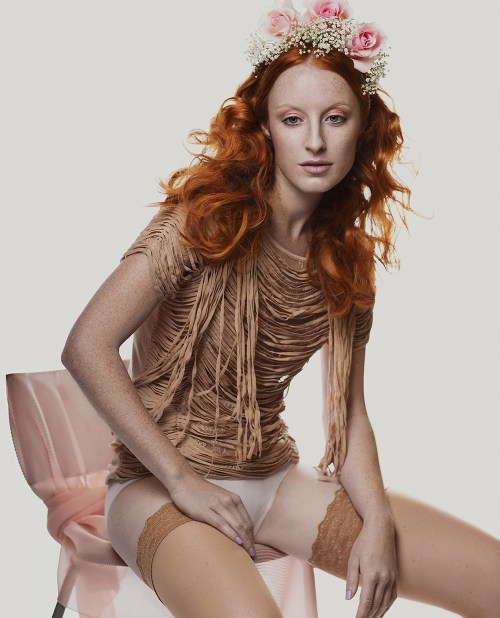 Muted Freckles Fashion Editorial with red-haired model
