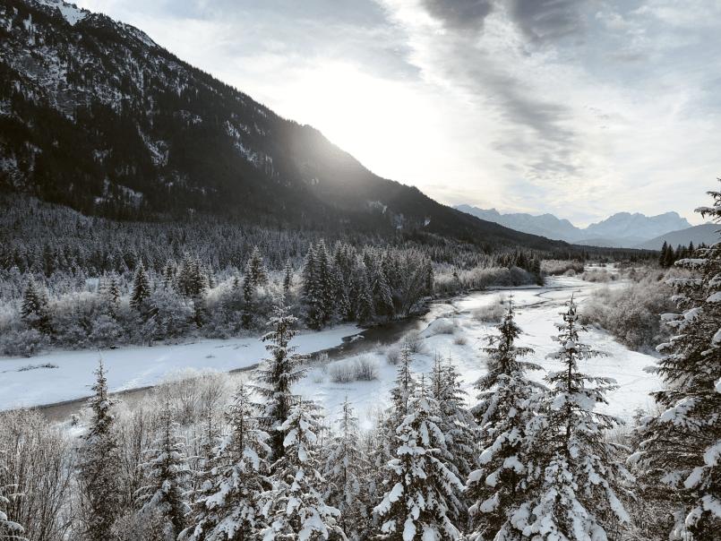Winter Ausflug Vorderriss, Bayern, Deutschland