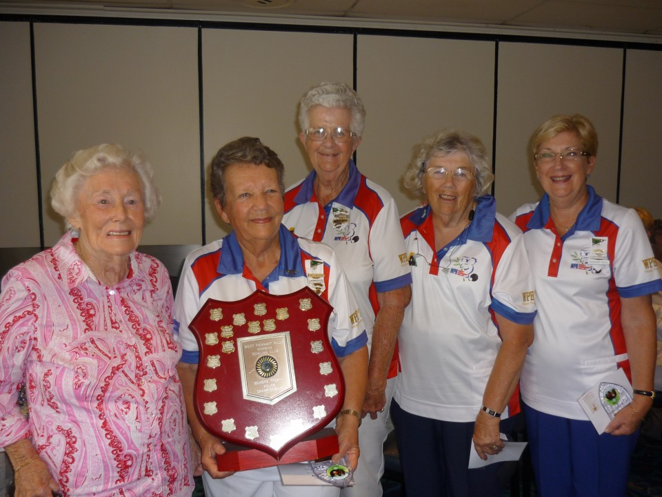 Rosemary Roles, Barbara Hazeltine, Margaret Sawyer and Jeanette Egan were presented with the Fours trophy by Sue Bowers, Past President and Patron.