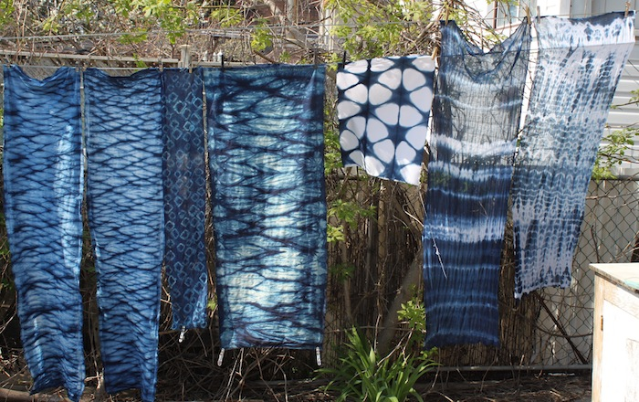 Indigo fabrics drying on line