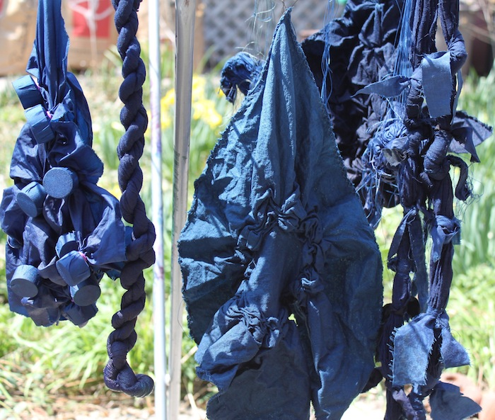 Indigo fabrics drying