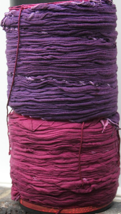 Arashi Shibori purple and raspberry