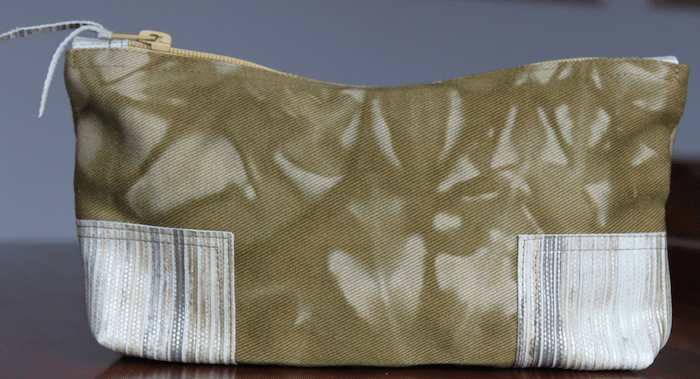Hand dyed canvas zippered pouch with leather accents