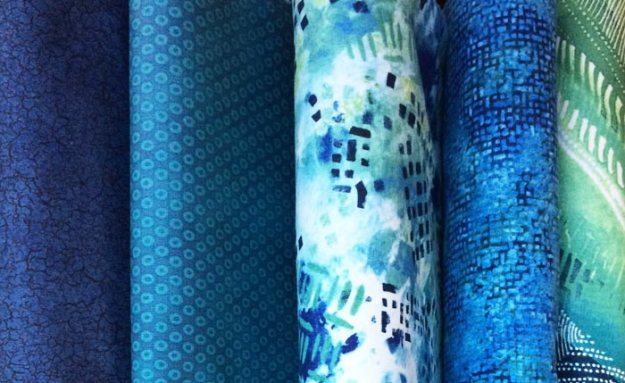 Northcott fabric bundle for the Blue By You quilt challenge. (photo courtesy of Quilts at the Creek Blog)