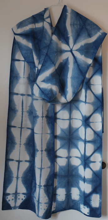 Three bamboo rayon indigo scarves