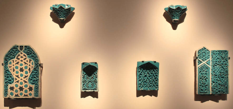 Muqarnas (Squinch) Elements probably Samarquand, Uzbekistan, late 14th-early 15th centuries Fritware, carved and glazed
