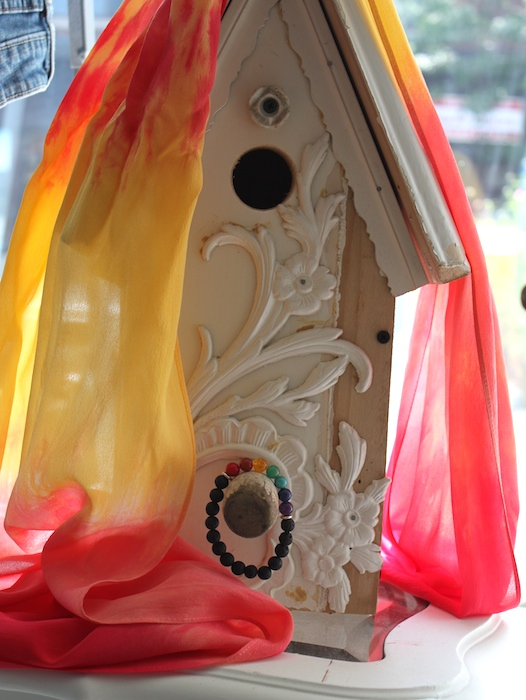 Bird houses from Amy's Place Handmade, mala bracelet by Peggy Thompson and silk scarf by Doris Lovadina-Lee