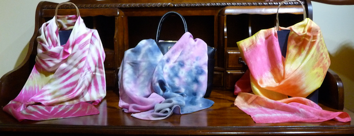parfait dyed silk scarves by doris lovadina-lee designs toronto, ontario