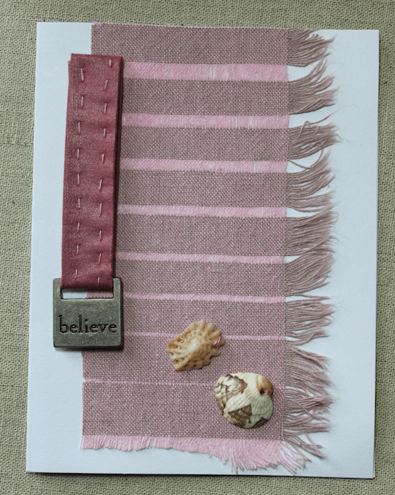 mixed media bespoke greeting card with seashells, ribbon created by dorislovadinalee.com