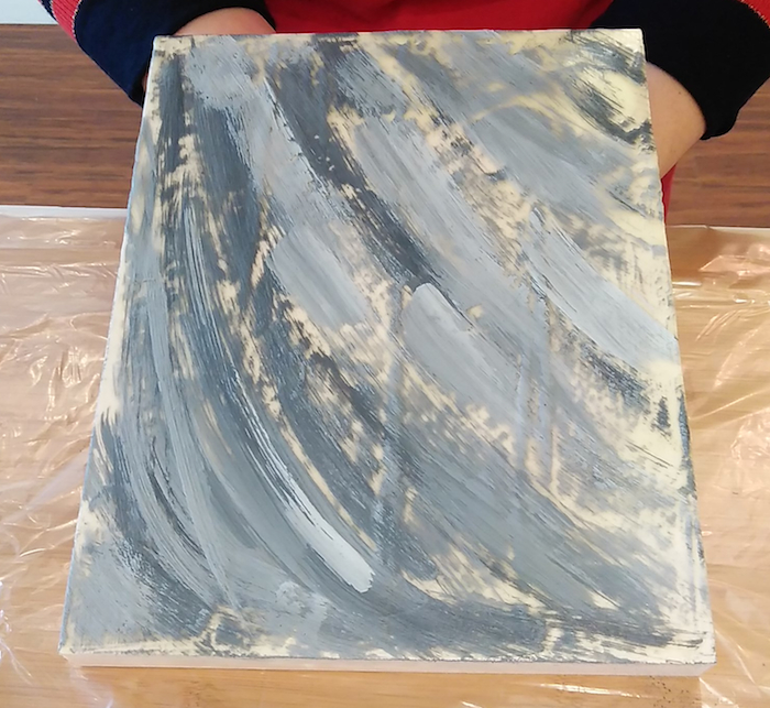 first layer melted wax for encaustic painting by doris lovadinal-lee