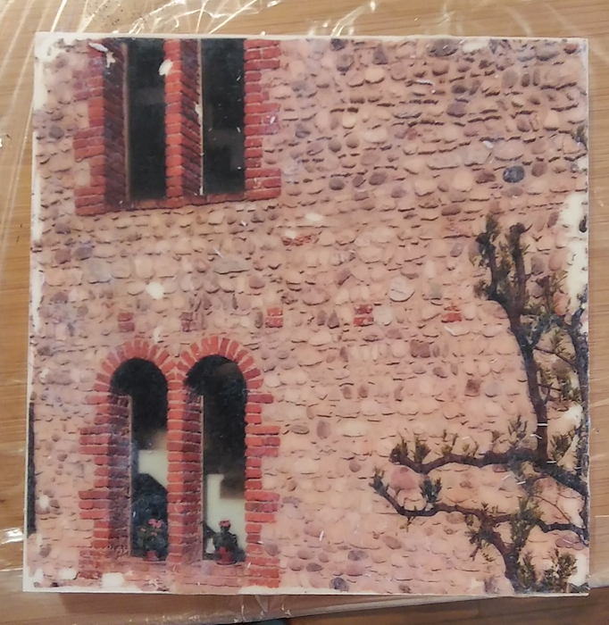 image transfer of italian stone wall with arched windows taken by doris lovadina lee toronto