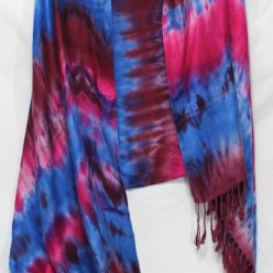 fuchsia and blue viscose handdyed scarf doris lovadina-lee kumo shibori small batch