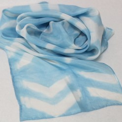 hand dyed itajime shibori blue long silk scarf by doris toronto
