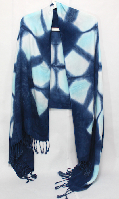 indigo dyed viscose shawl hand dyed by dorislovadinalee.com in toronto