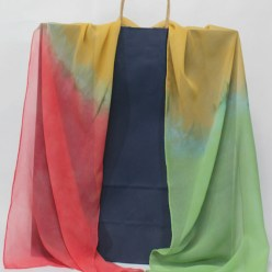 apricot, yellow and green silk chiffon scarf hand dyed in toronto by dorislovadinalee.com