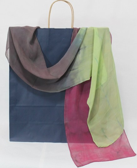 rose, pale green and light grey silk chiffon scarf hand dyed by doris in toronto