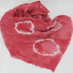 linen rayon shibori scarf red and white dots handdyed by doris lee in canada
