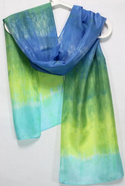 nui and parfait handmade hand dyed silk scarf by doris toronto canada green, blue and turquoise