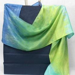 nui shibori blue, turquoise and green silk scarf hand dyed by doris lovadina-lee designs in toronto parfait dyed
