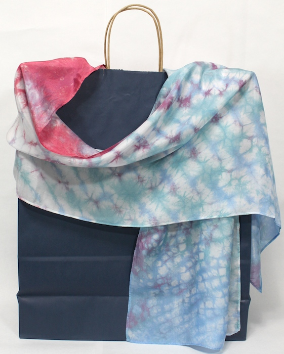 Silk Nui Shibori Scarf, hand dyed in blue and rose, artisanal handmade  luxurious gift for women, colourful and elegant accessories - Doris' Website