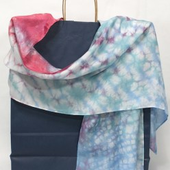 hand dyed rose and blue nui shibori snakeskin texture silk scarf by dorislovadinalee.com canada