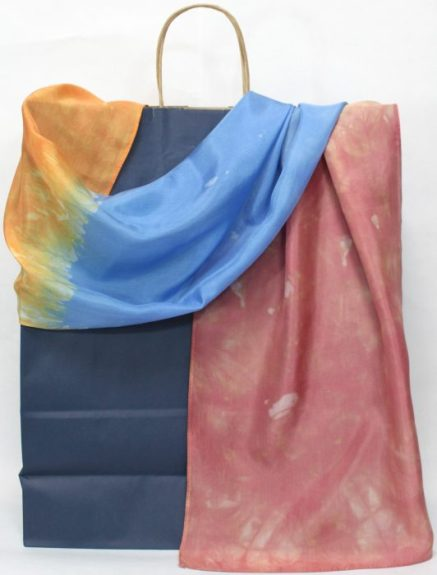 silk scarf parfait dyed in toronto in red, orange and blue by dorislovadinalee