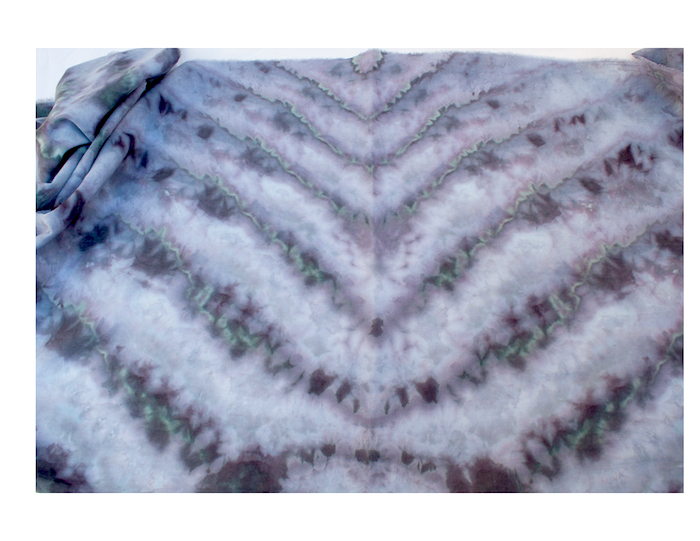 snow dyed shibori scarf using black dye by artisan doris lovadina-lee