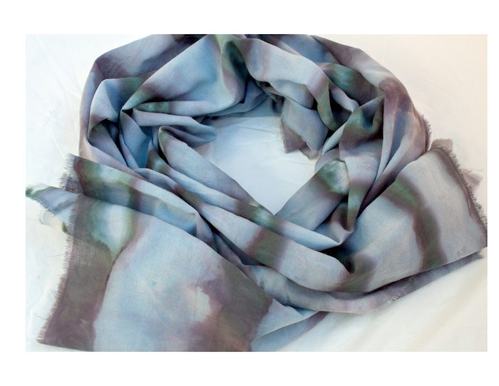 nui shibori cotton/rayon scarf snow dyed with black dye by doris lovadina-lee