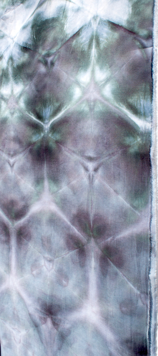 shibori black dyed cotton scarf snow dyed by toronto artist doris lovadina-lee