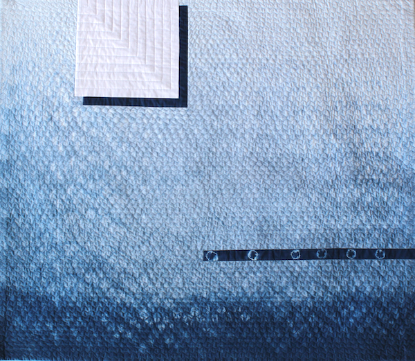 Atmosphere by doris lovadina-lee hand dyed kumo shibori indigo fabric made into an art quilt