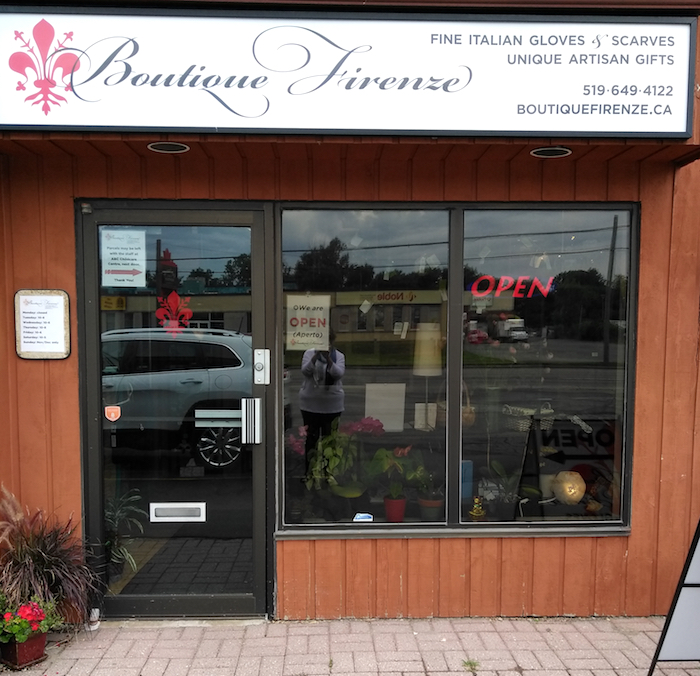 Storefront Boutique Firenze London Ontario artisan gift shop