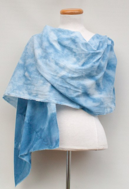 cotton rayon shawl snow dyed in pale blue doris lovadina lee toronto artist