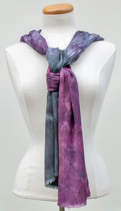 linen-rayon crinkle scarf parfait dyed by doris lovadina-lee toronto