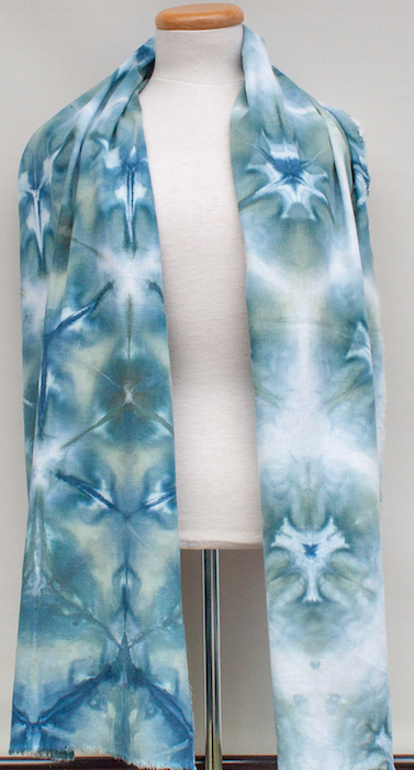 snowdyed shibori scarf for woman teal design small batch dyed toronto ontario