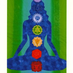 Danielle's chakra quilt wallhanging blue figure on green and turquoise background by toronto ontario artist doris lee