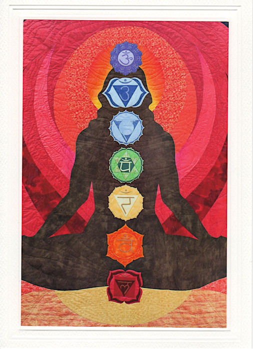 Chakra Quilt female figure with red and orange background seated on lotus blank card lovadina-lee