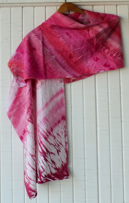 women's pink shibori hand dyed with snow scarf uniquely made in canada DLL1842