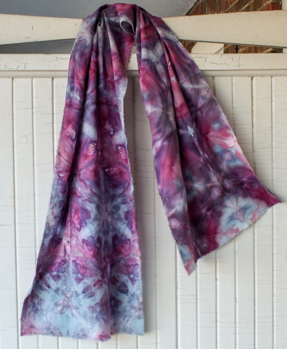 watercolor linen/rayon scarf dyed with snow original gift for women by toronto artist doris lovadina-lee