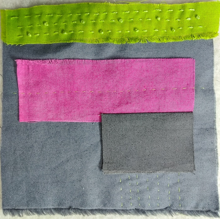 stitch meditation day 4 five inch square silk and hand dyed cotton embroidered in fuchsia and green perle cotton Toronto artist Doris lovadina-Lee