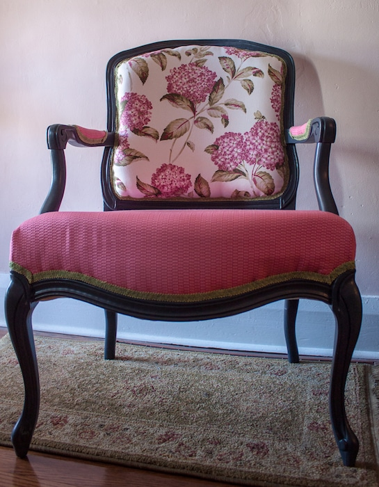 French provincial armchair in pink reupholstered by doris lovadina-lee toronto ontario canada