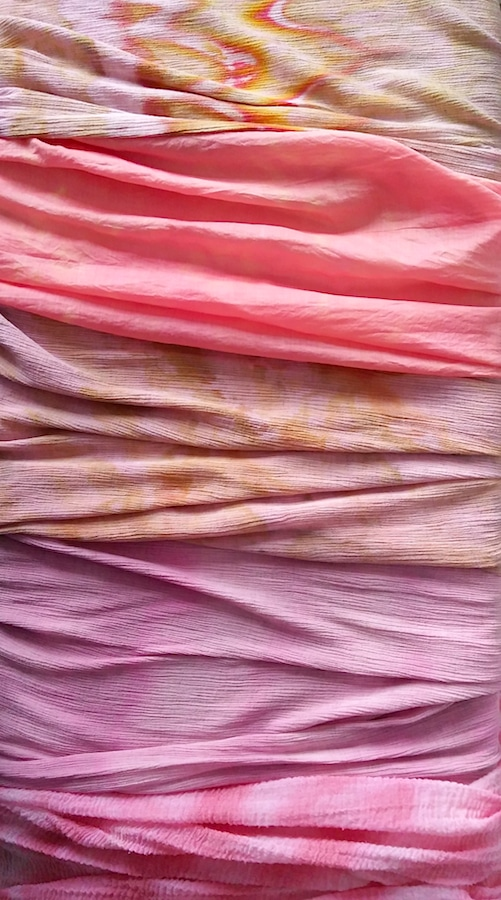 5 pastel travel scarves snow dyed in pastel colors in Toronto Ontario Canada by Doris Lovadina-Lee textile artist