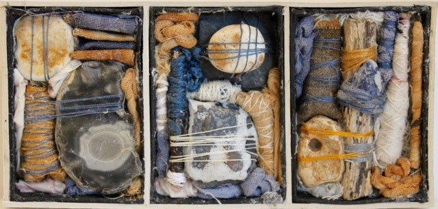 Contained Sticks and Stones by Gwen Hedley art piece made with found items,cloth and wrapped threads