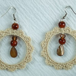 Single hoop crochet earrings in cream cotton with brown drops jewellery by maria.n.designs toronto