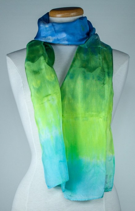 wrapped long silk scarf in blue turquoise and green