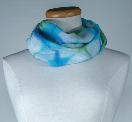 itajime shibori technique in a silk and wool hand dyed scarf by doris lee