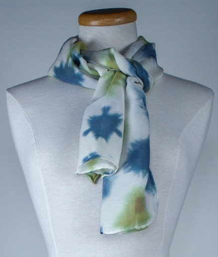 blue and green silk and wool scarf hand dyed in canada